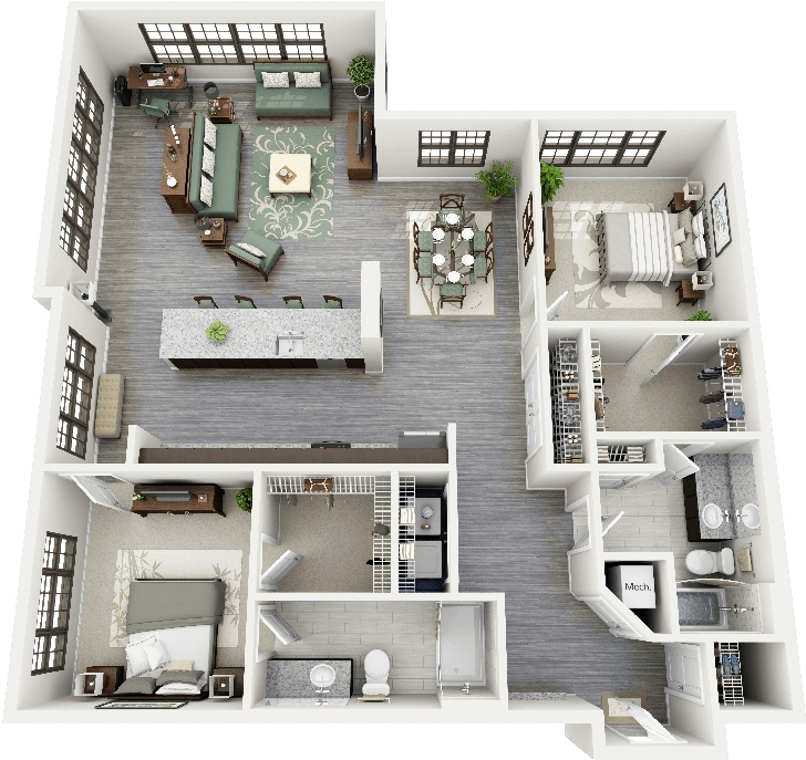 "50 Two ""2"" Bedroom ApartmentHouse Plans (45)"