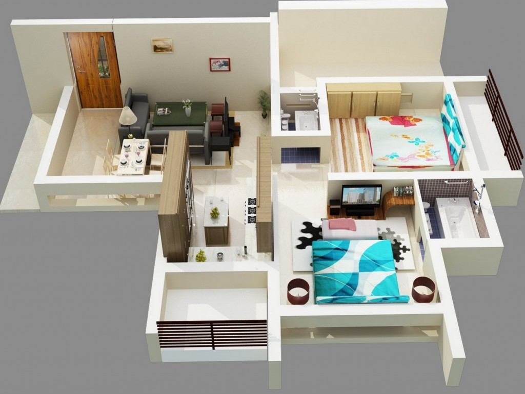 "50 Two ""2"" Bedroom ApartmentHouse Plans (47)"