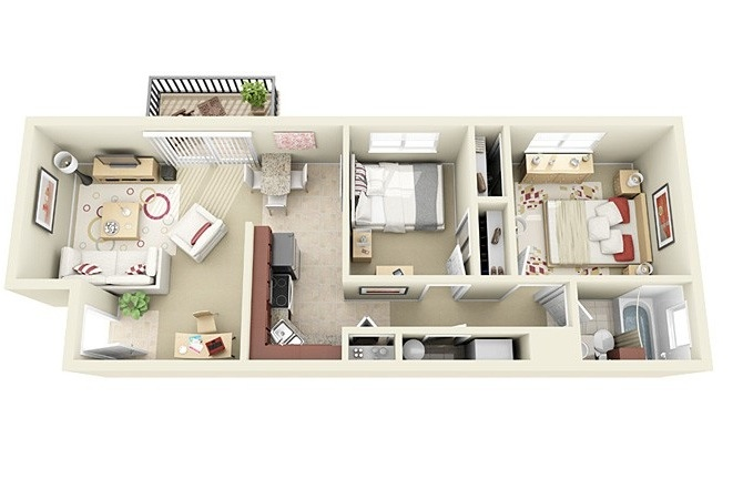 "50 Two ""2"" Bedroom ApartmentHouse Plans (48)"