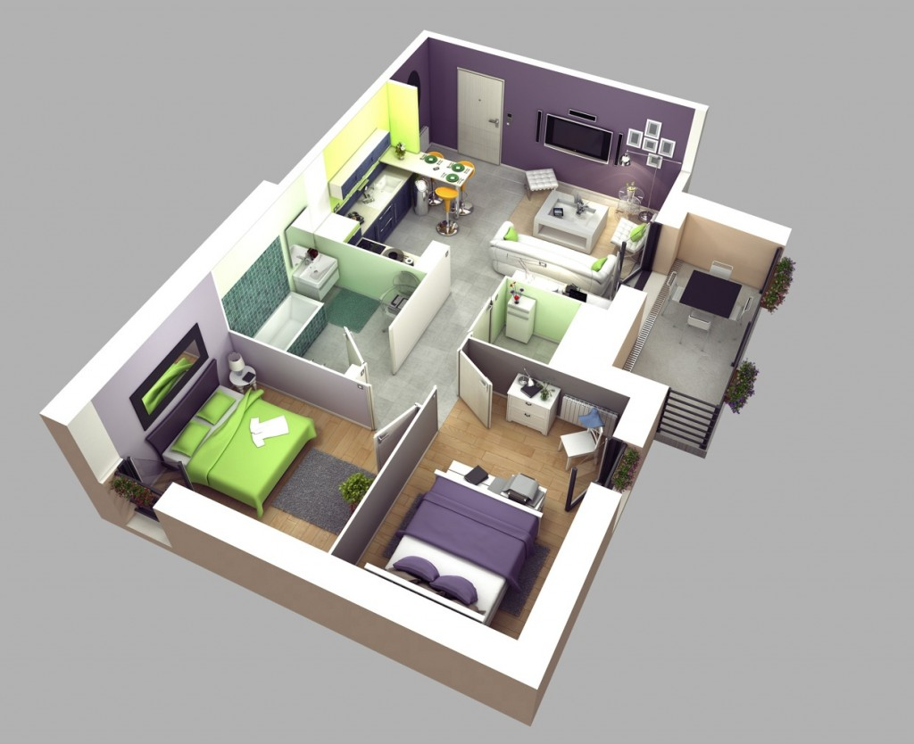 "50 Two ""2"" Bedroom ApartmentHouse Plans (5)"