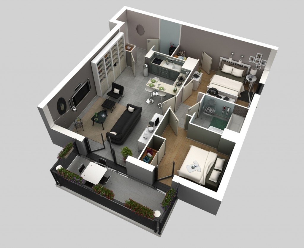 "50 Two ""2"" Bedroom ApartmentHouse Plans (6)"