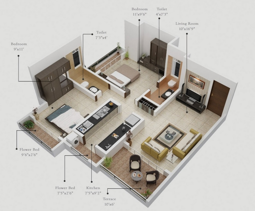"50 Two ""2"" Bedroom ApartmentHouse Plans (7)"