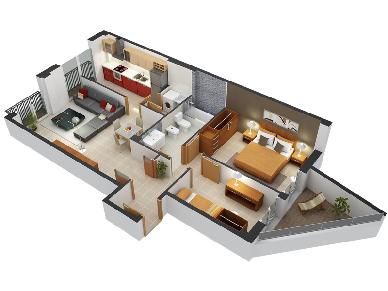 "50 Two ""2"" Bedroom ApartmentHouse Plans (8)"