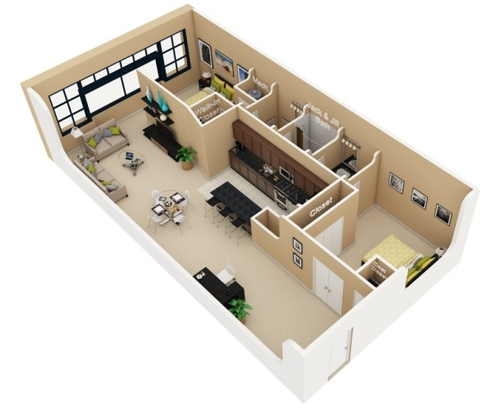 "50 Two ""2"" Bedroom ApartmentHouse Plans (9)"