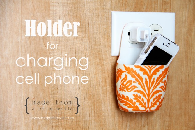 diy holder for cell phone from lotion bottle (1)