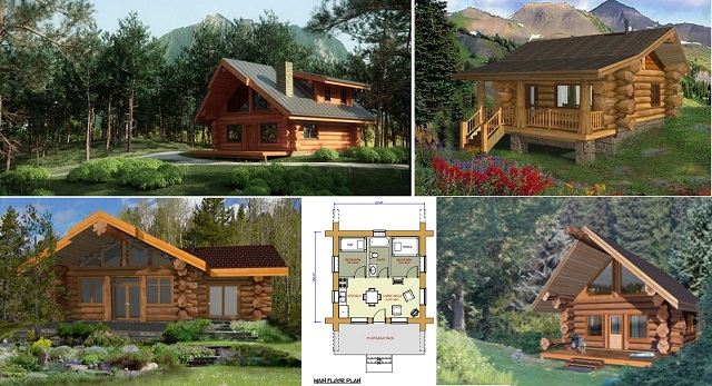 7 small log cabin house plans (1)