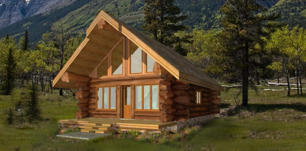 7 small log cabin house plans (10)