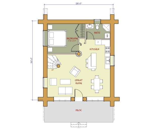 7 small log cabin house plans (11)