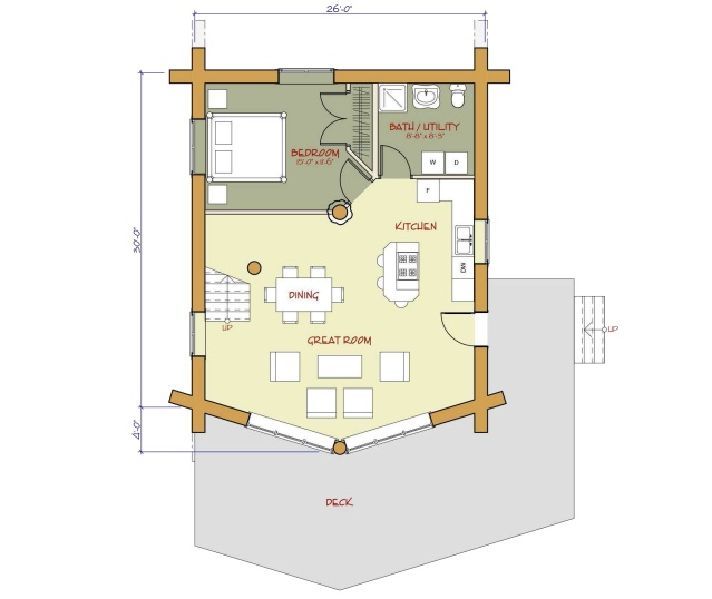 7 small log cabin house plans (13)