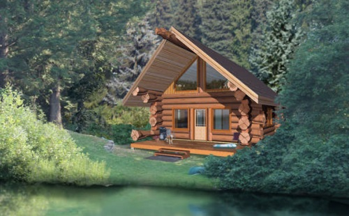 7 small log cabin house plans (14)