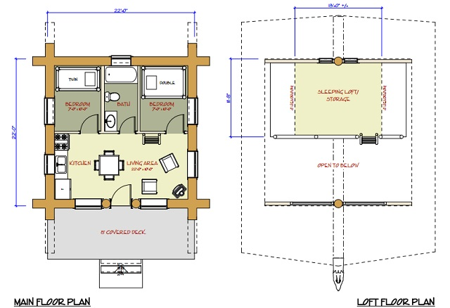 7 small log cabin house plans (15)