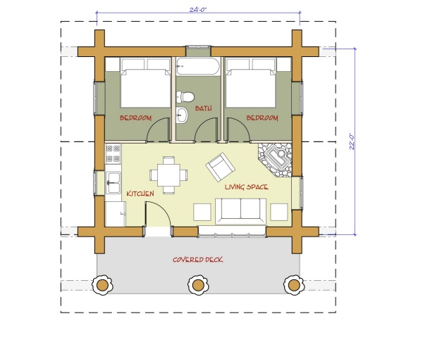 7 small log cabin house plans (3)