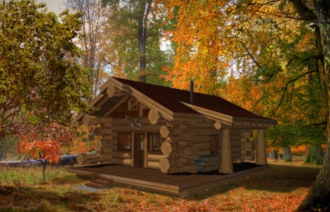 7 small log cabin house plans (4)