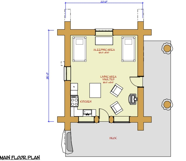 7 small log cabin house plans (5)