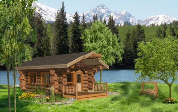 7 small log cabin house plans (6)