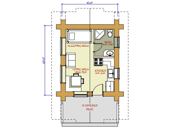 7 small log cabin house plans (7)