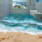 """ปูพื้นห้องน้ำแบบ """"สามมิติ"""" สร้างภาพสมจริง บรรยากาศแบบริมทะเลยกมาไว้ในบ้าน!!"""