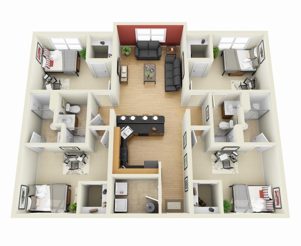 50-four-4-bedroom-apartmenthouse-plans (1)