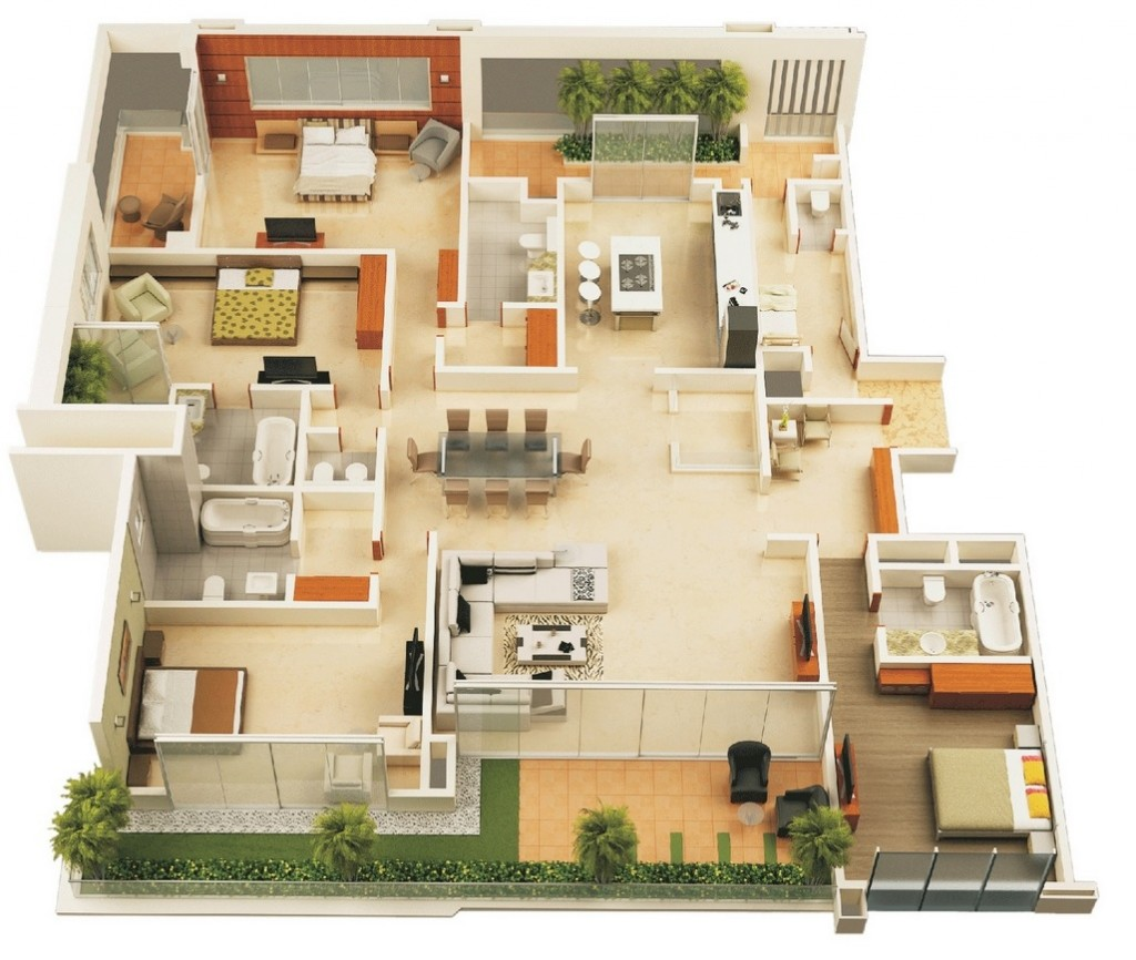 50-four-4-bedroom-apartmenthouse-plans (1)