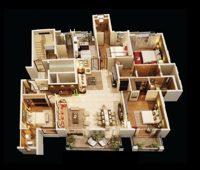 50-four-4-bedroom-apartmenthouse-plans (10)