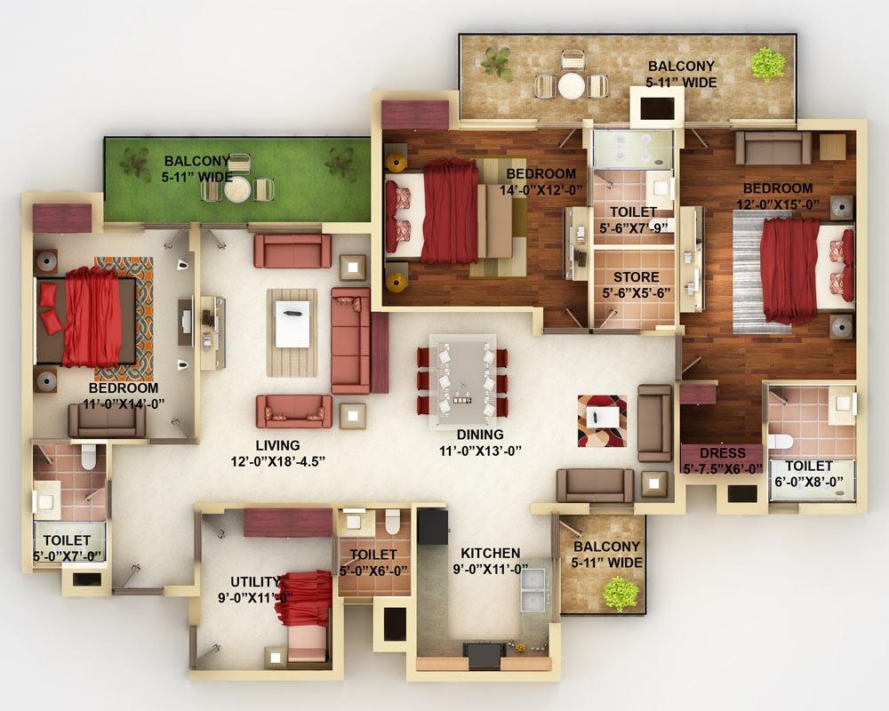 50-four-4-bedroom-apartmenthouse-plans (11)