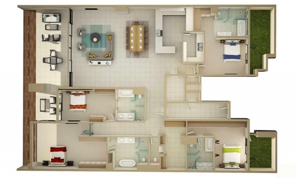 50-four-4-bedroom-apartmenthouse-plans (15)