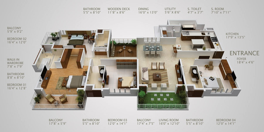 50-four-4-bedroom-apartmenthouse-plans (17)