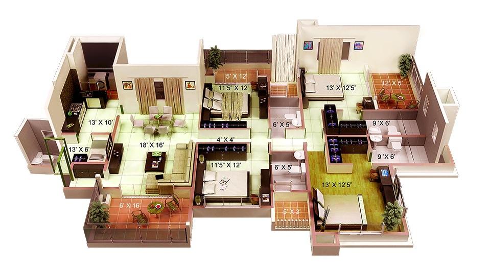 50-four-4-bedroom-apartmenthouse-plans (27)