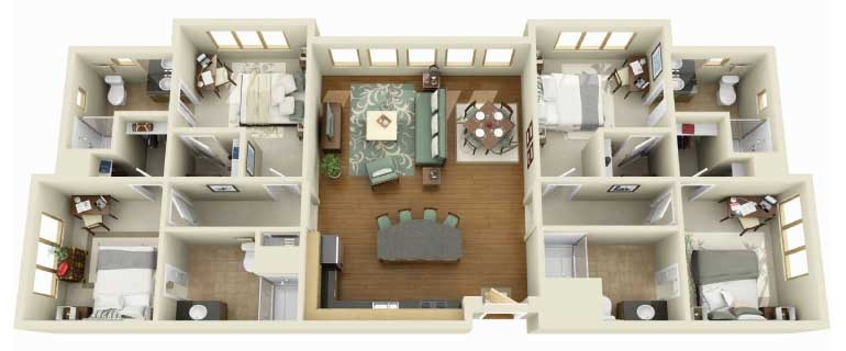 50-four-4-bedroom-apartmenthouse-plans (28)