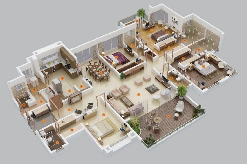 50-four-4-bedroom-apartmenthouse-plans (3)