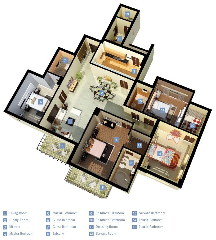 50-four-4-bedroom-apartmenthouse-plans (30)