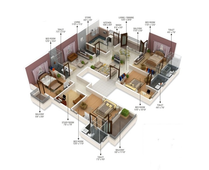 50-four-4-bedroom-apartmenthouse-plans (35)