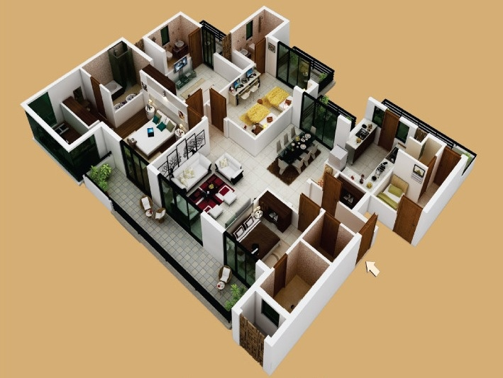 50-four-4-bedroom-apartmenthouse-plans (36)