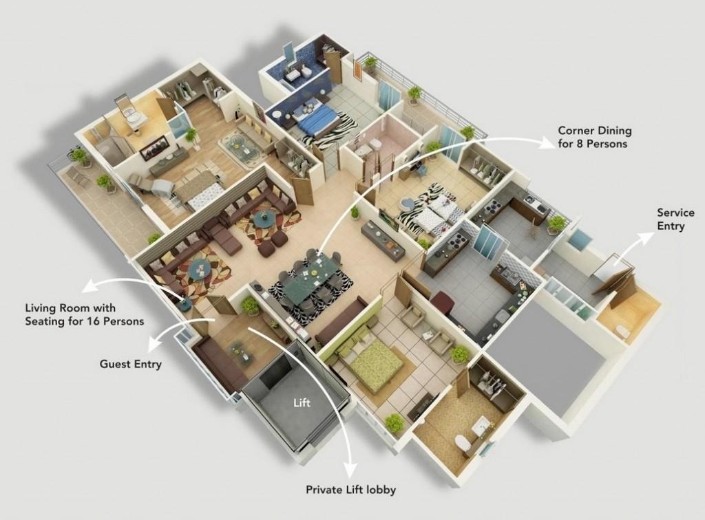 50-four-4-bedroom-apartmenthouse-plans (42)