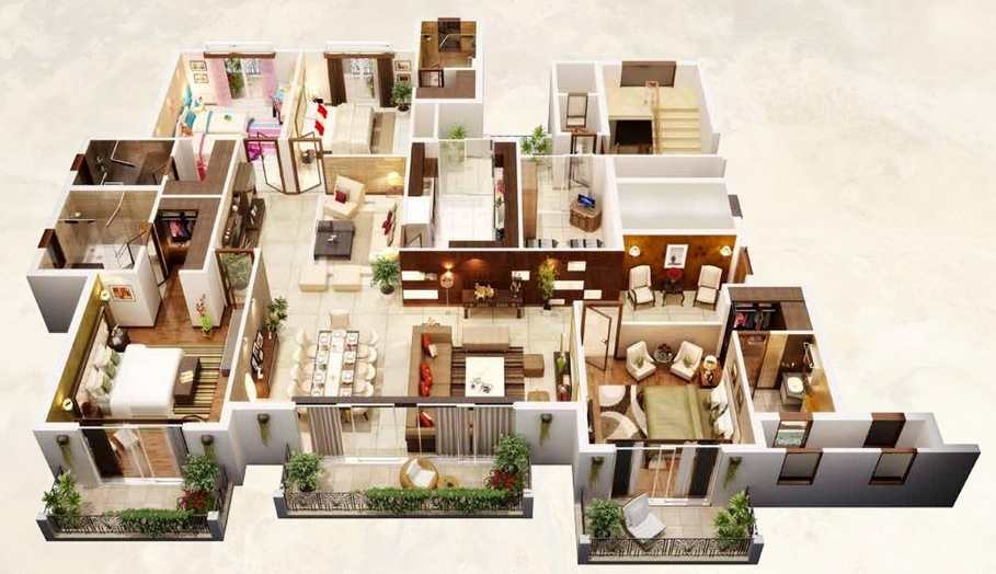 50-four-4-bedroom-apartmenthouse-plans (9)