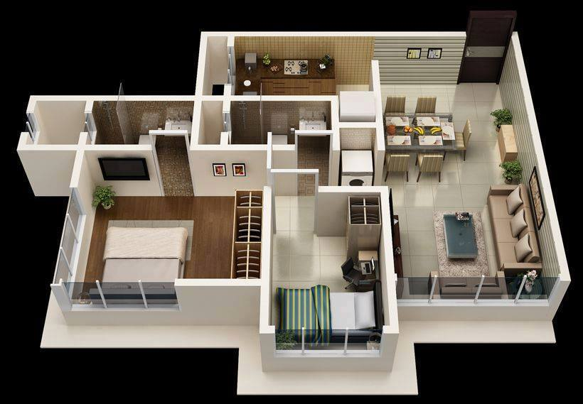 8 3d House plan 3d view