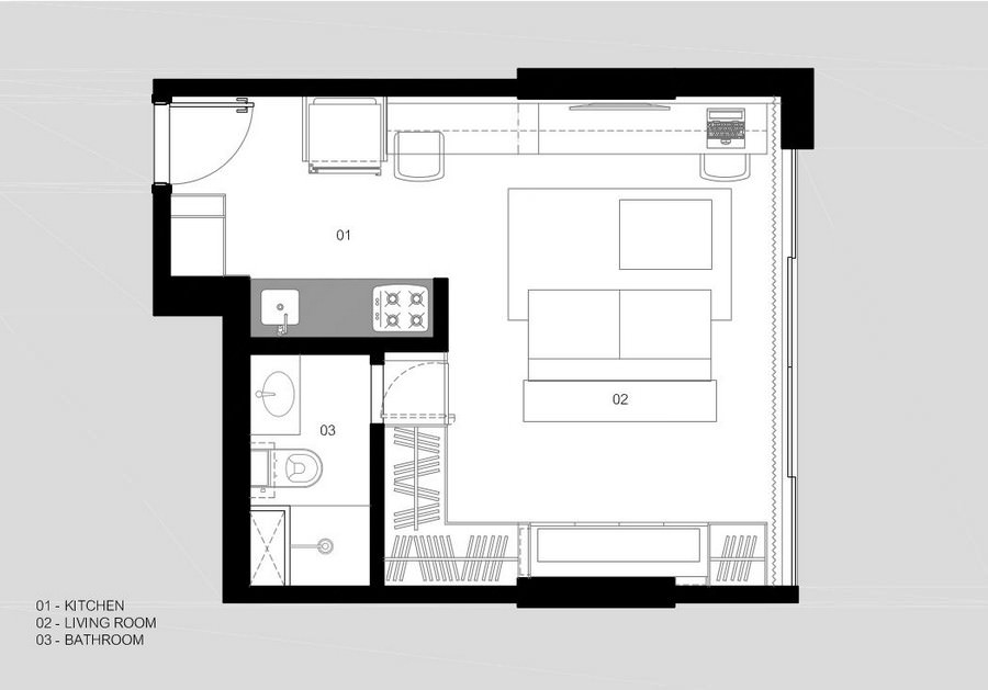 concrete wooden furnished 30 sq mts  apartment (7)