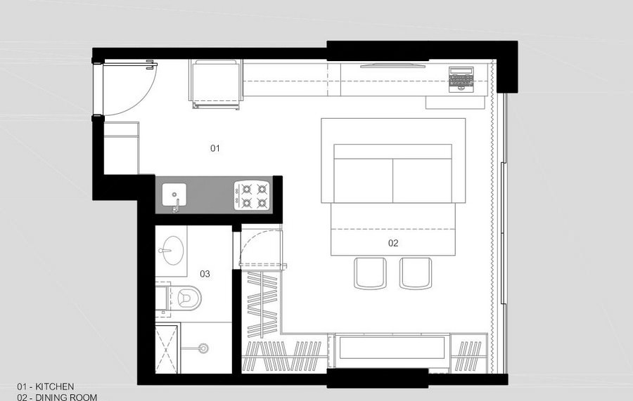 concrete wooden furnished 30 sq mts  apartment (8)