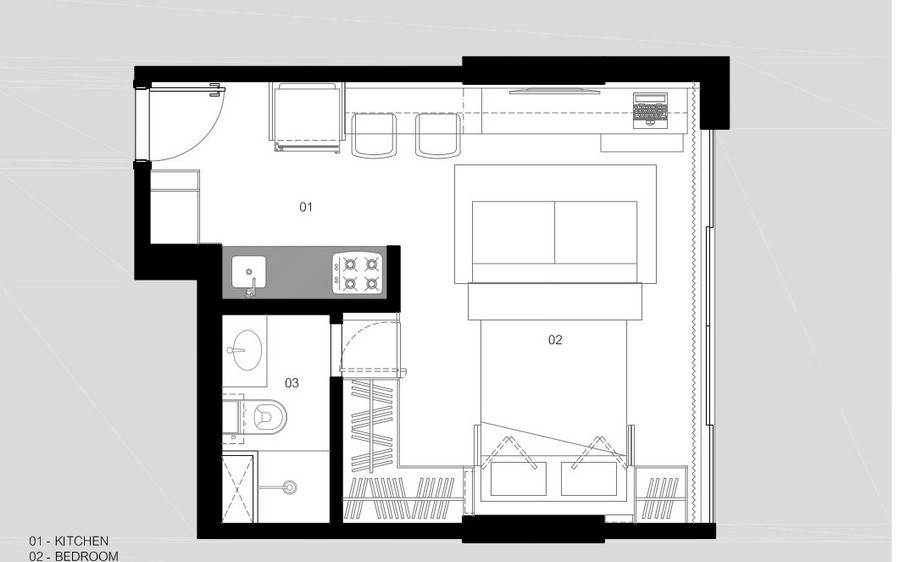 concrete wooden furnished 30 sq mts  apartment (9)