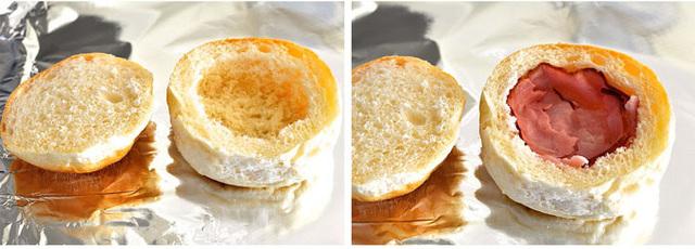 cheesy eggs with ham stuffed in bread recipe (2)