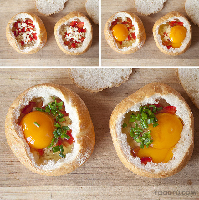 cheesy eggs with ham stuffed in bread recipe (3)
