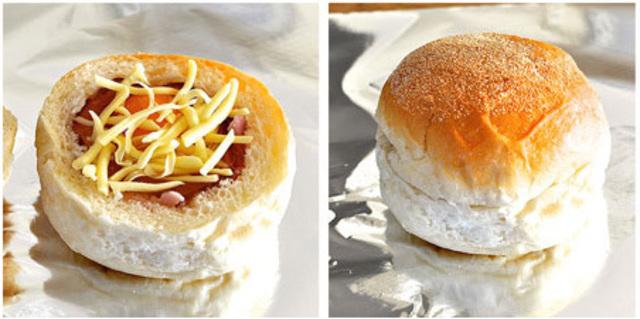 cheesy eggs with ham stuffed in bread recipe (4)