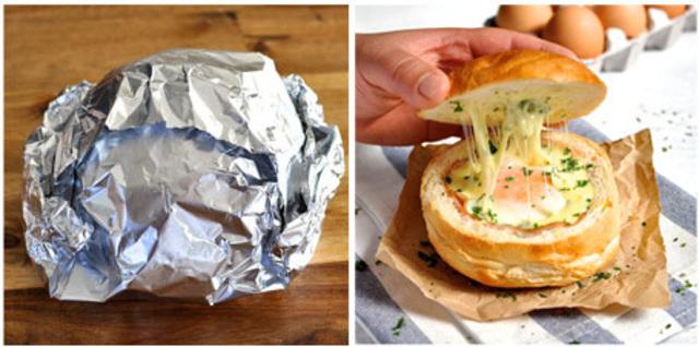 cheesy eggs with ham stuffed in bread recipe (5)