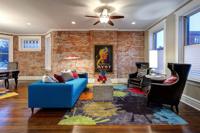34 brick wall living room interior designs (32)