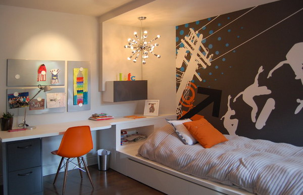 Retro-Teenage-Bedroom-Ideas-with-Wall-Mural