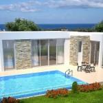 แบบบ้านขนาดกลาง โมเดิร์นสีขาวและวัสดุจากหิน มาพร้อมสระว่ายน้ำ