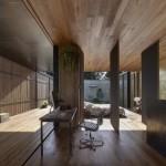 บ้านโมเดิร์นขนาดกลาง ดีไซน์ในแนวราบ วัสดุจากหินและไม้