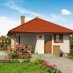 พื้นที่ 42 ตร.ม. ของบ้านขนาดเล็ก เหมาะสำหรับบ้านสวน บ้านตากอากาศ รวมทั้งแบบรีสอร์ท