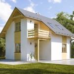 บ้านขนาดกลางสองชั้น หลังคาจั่ว ความสวยงามในรูปทรงและโทนสีสบายตา