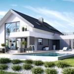 บ้านหลังใหญ่สไตล์วิลล่า มาพร้อมสระว่ายน้ำ ความภูมิฐานในรูปทรงและโทนสี